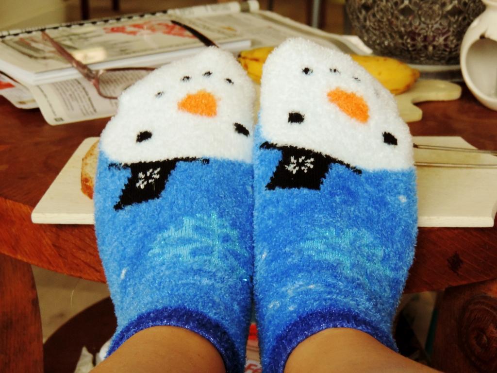 Chaussette 'fluffy' pour garder les pieds au chaud